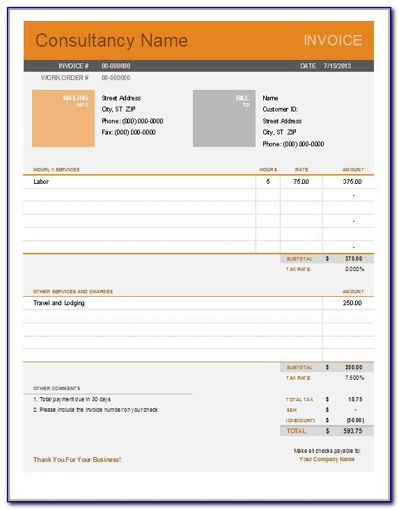 Free Consulting Invoice Template Excel