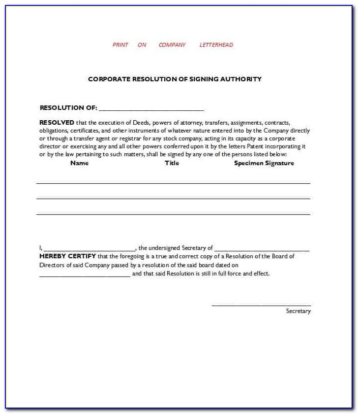 Free Corporate Resolution Form Template