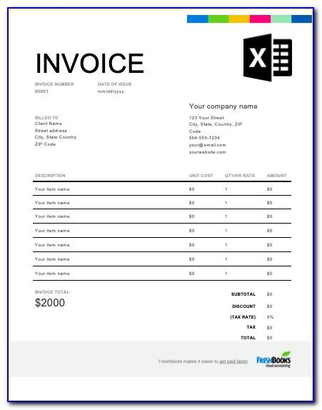 Free Excel Invoice Template Download