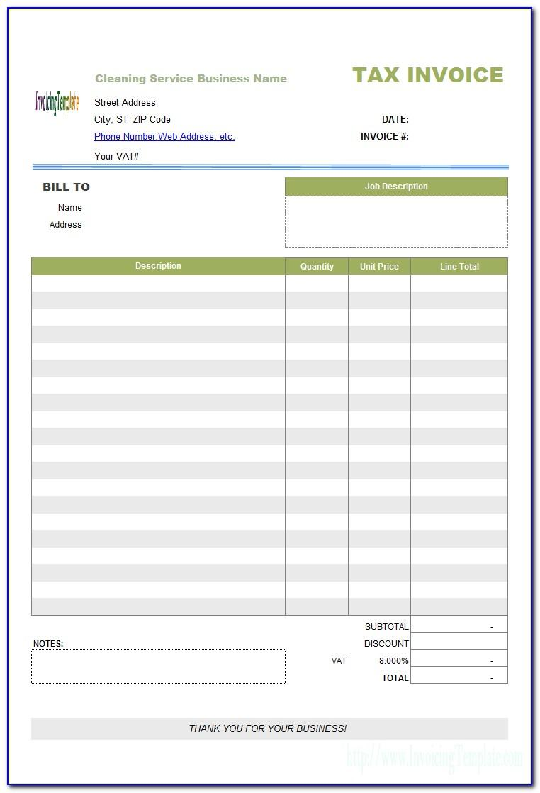 Free House Cleaning Invoice Template