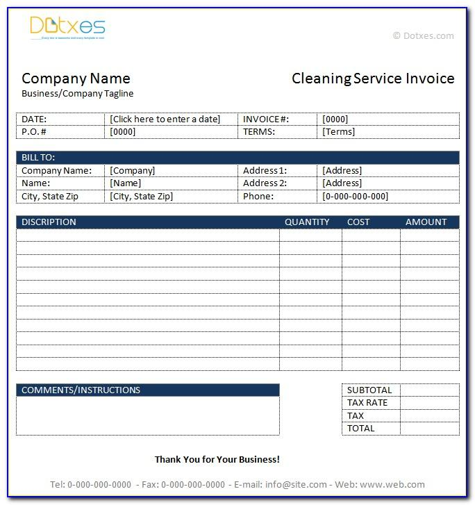 Free Invoice Template For Cleaning Services