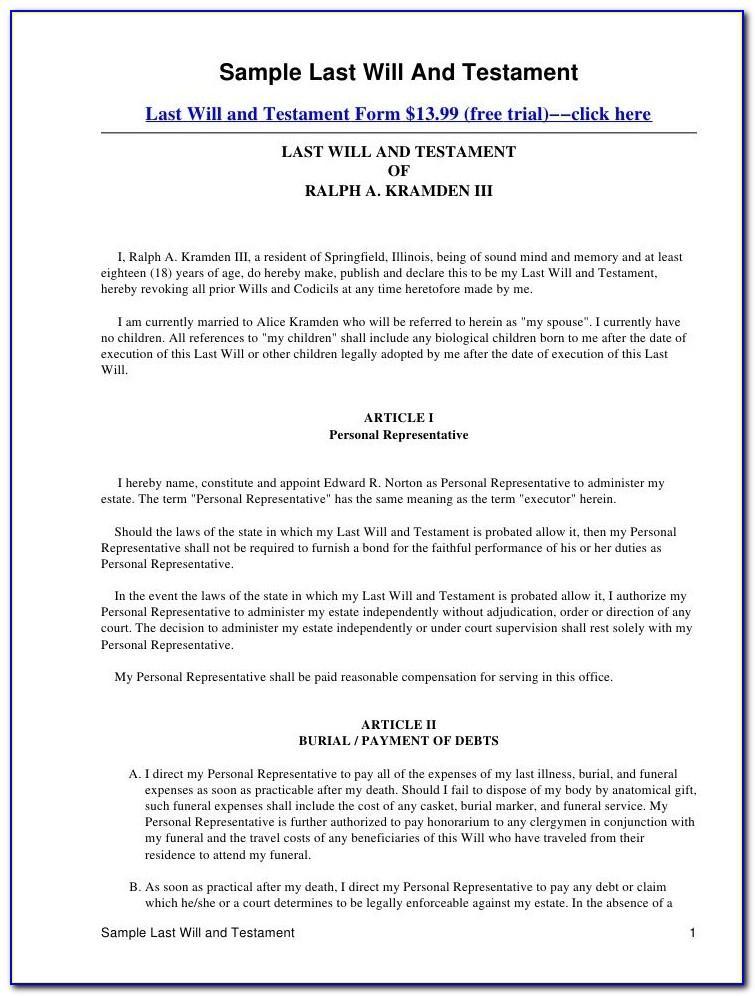 Free Last Will And Testament Template Massachusetts