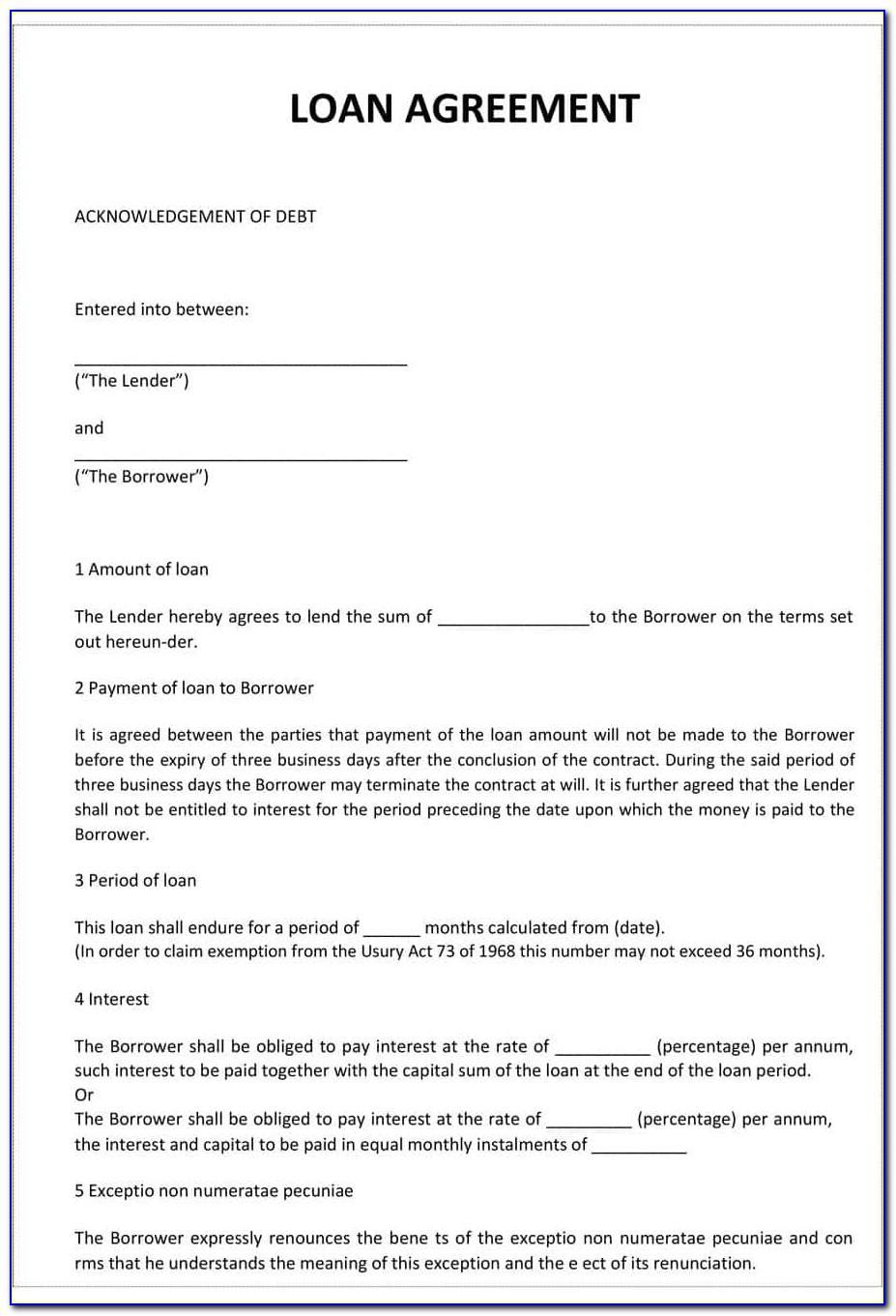 Free Loan Agreements Templates