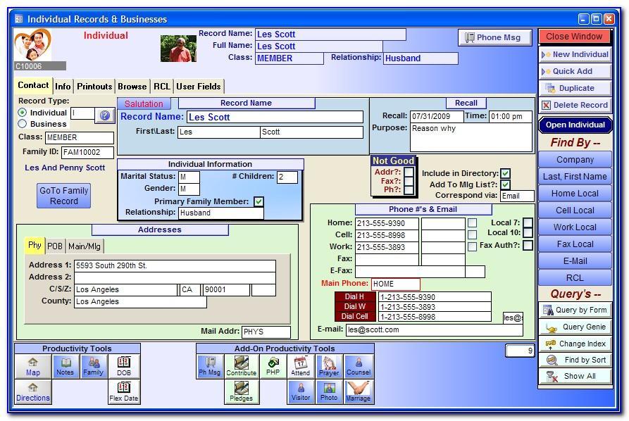 Free Microsoft Access Church Database Template