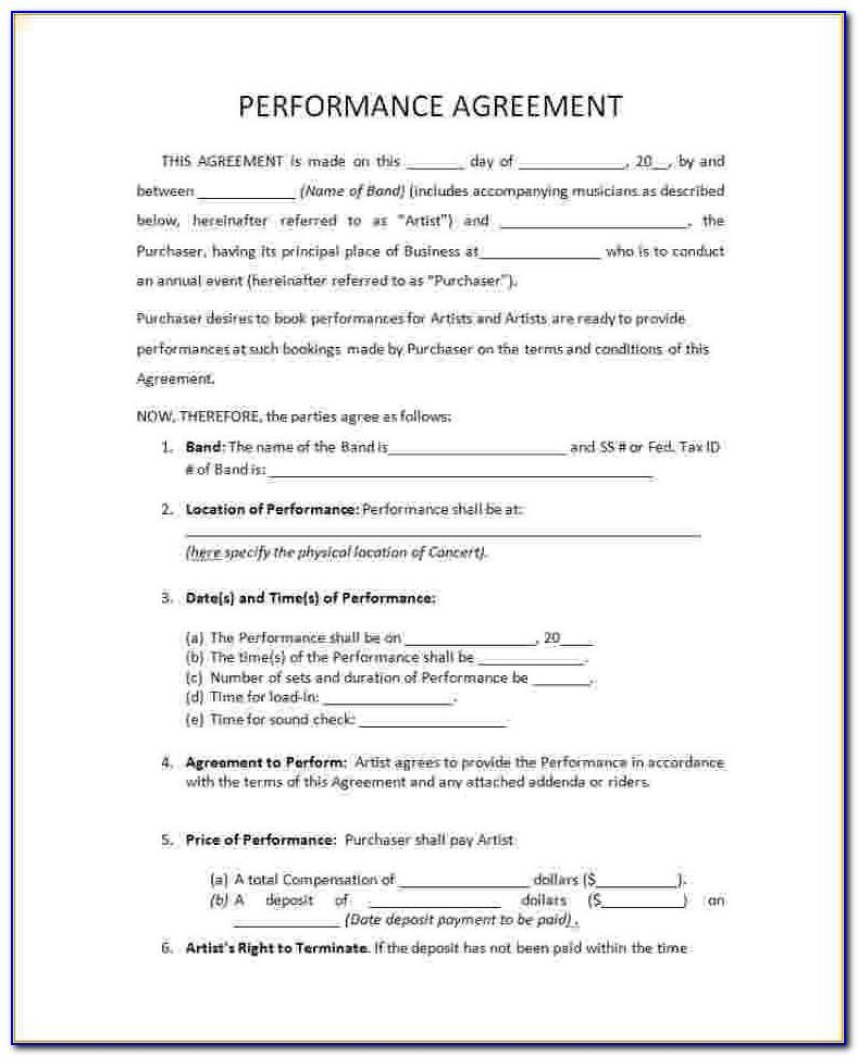 Free Musician Performance Contract Template