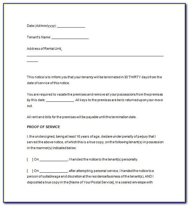 Free Notice To Vacate Template