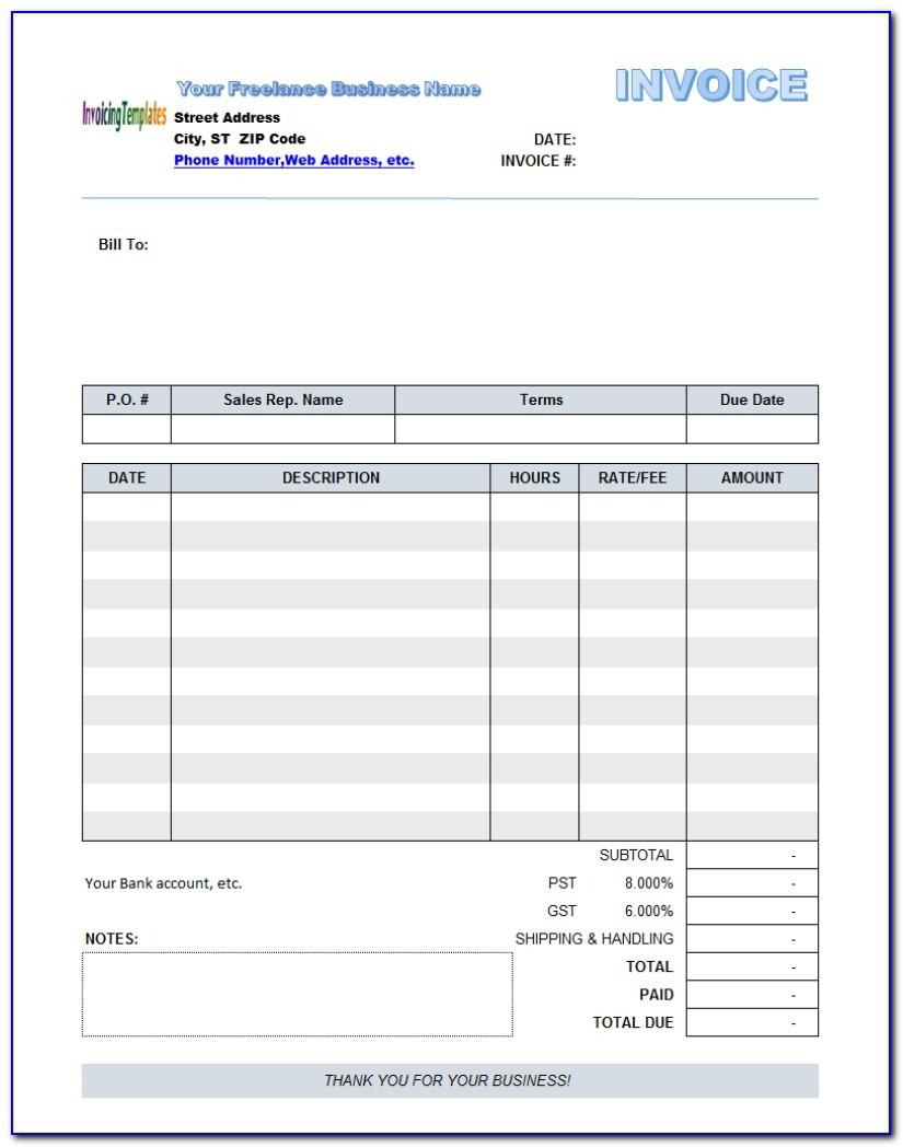 Free Online Fillable Invoice Template