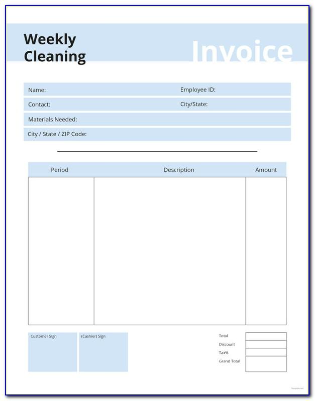 Free Printable Cleaning Invoice Template