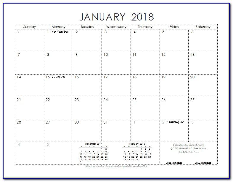 Free Printable Photo Calendar Template 2018