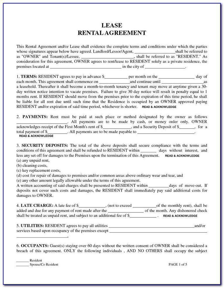 Free Rental Agreement Word Document