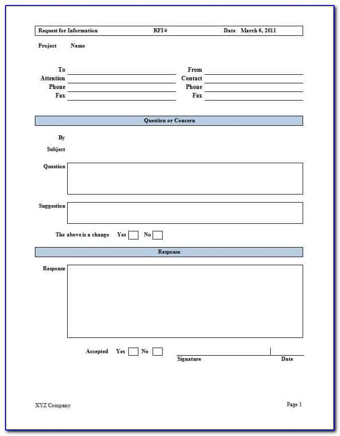 Free Request For Information Form Template