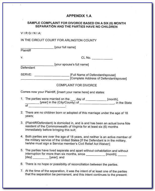 Free Separation Agreement Template Va
