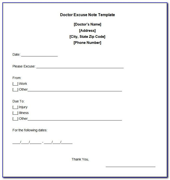 Free Template For Doctors Note