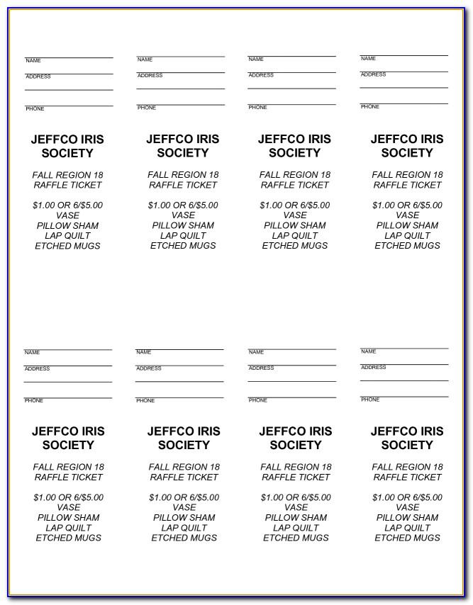 Free Template For Tickets 8 Per Page