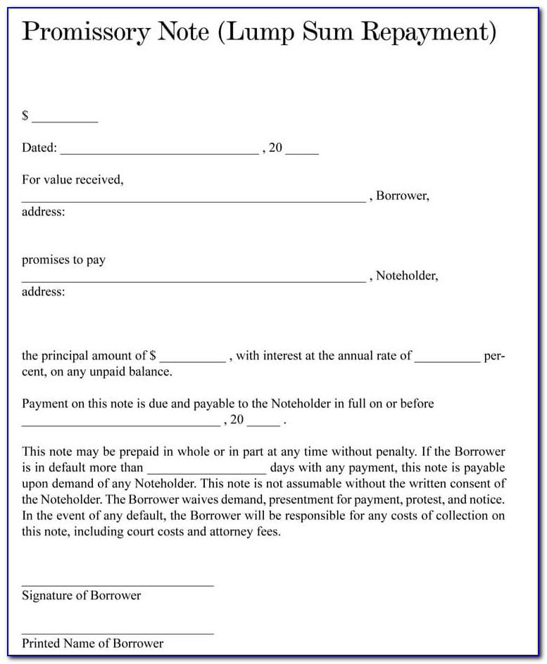 Free Template Promissory Note
