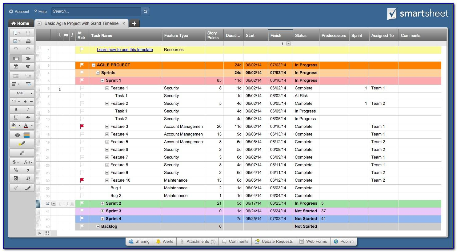Free Template Smartsheet Project Management