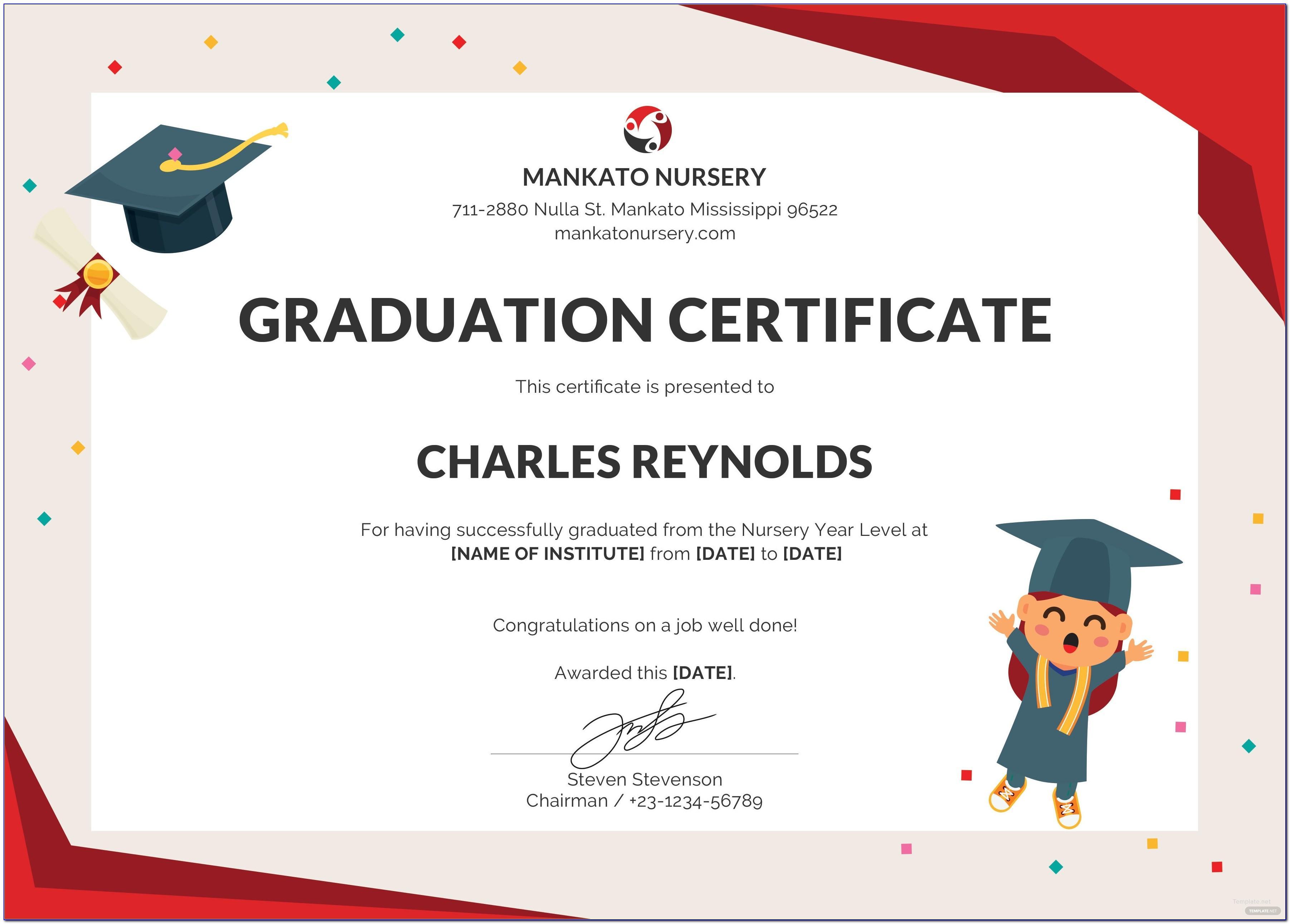 Free Templates For Graduation Certificates