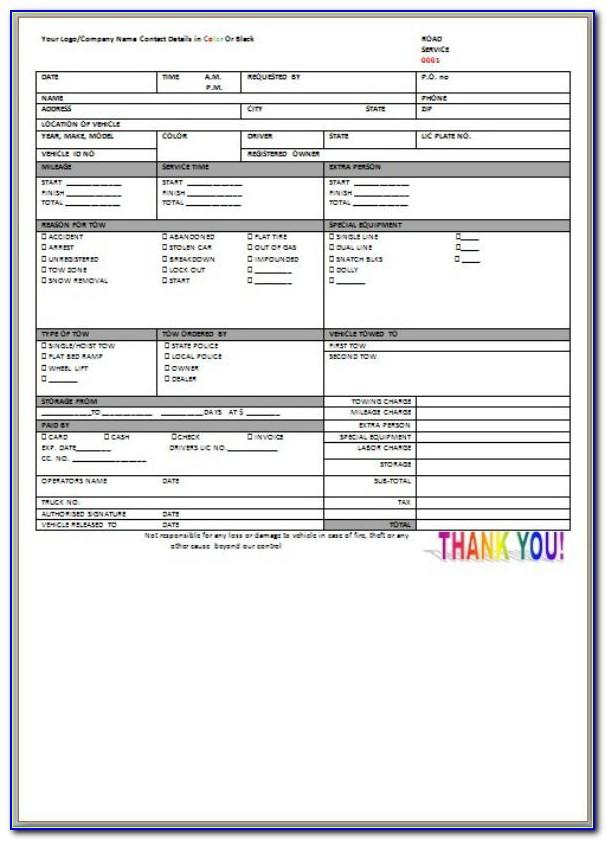 Free Towing Service Invoice Template