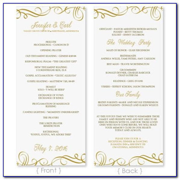 Free Wedding Program Template For Word