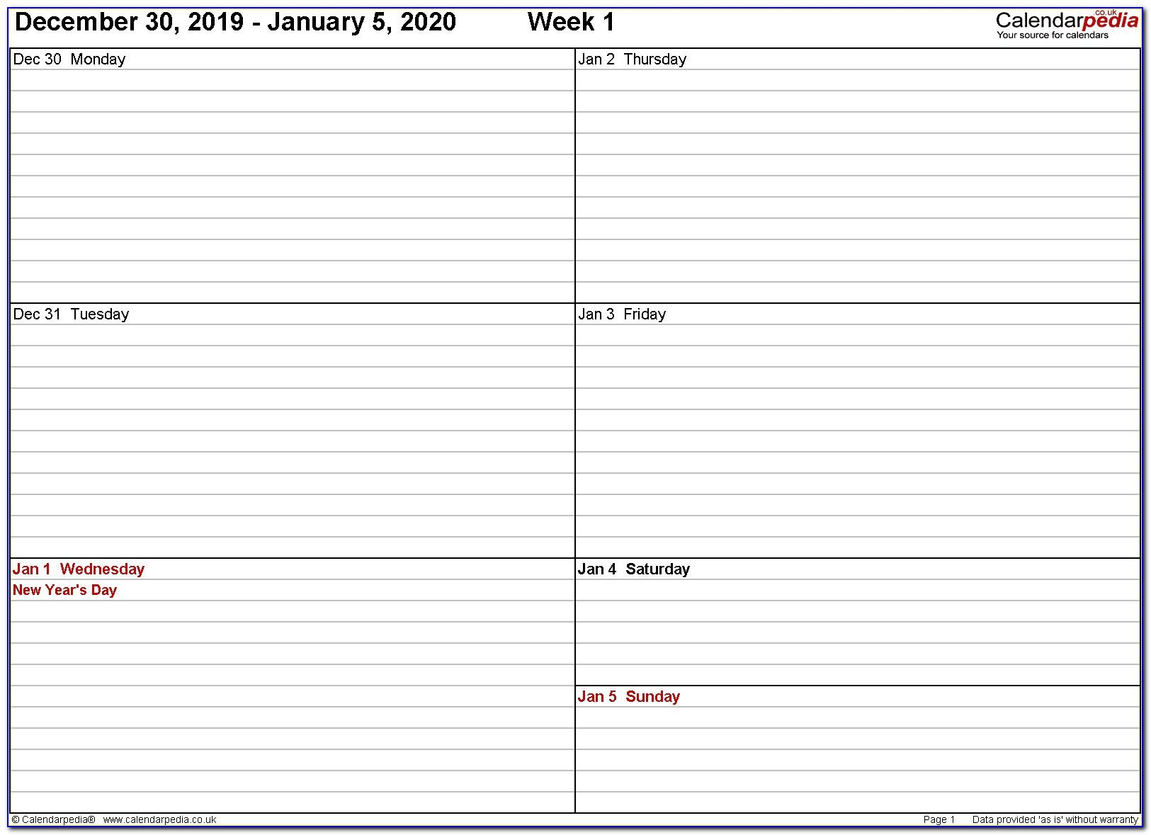 Free Weekly Appointment Calendar Template 2018