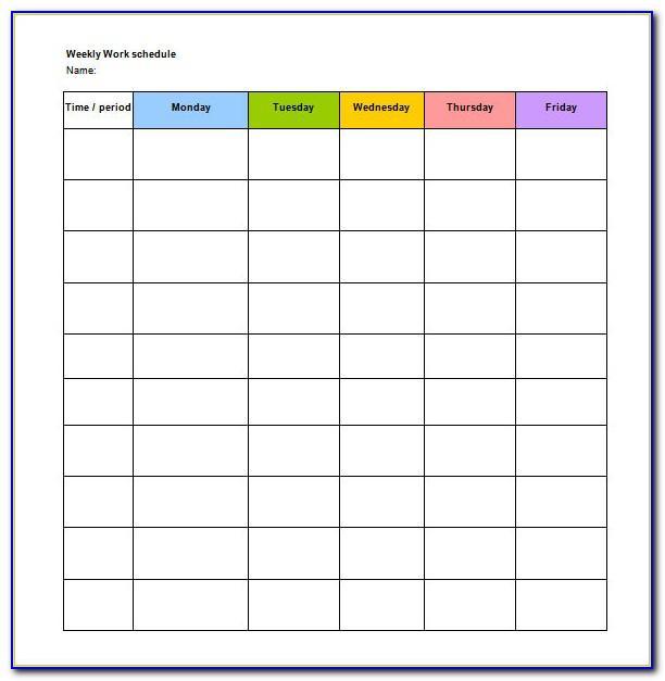 Free Weekly Work Schedule Template Word