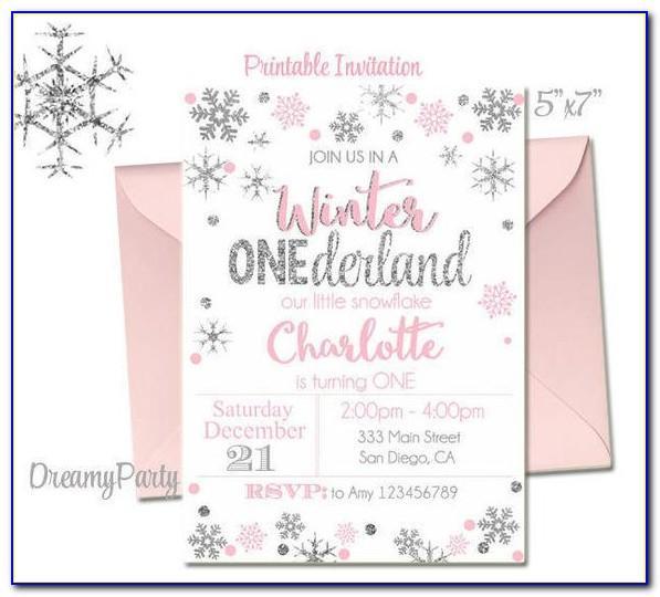 Free Winter Onederland Invitation Templates