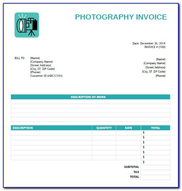 Freelance Photographer Invoice Template