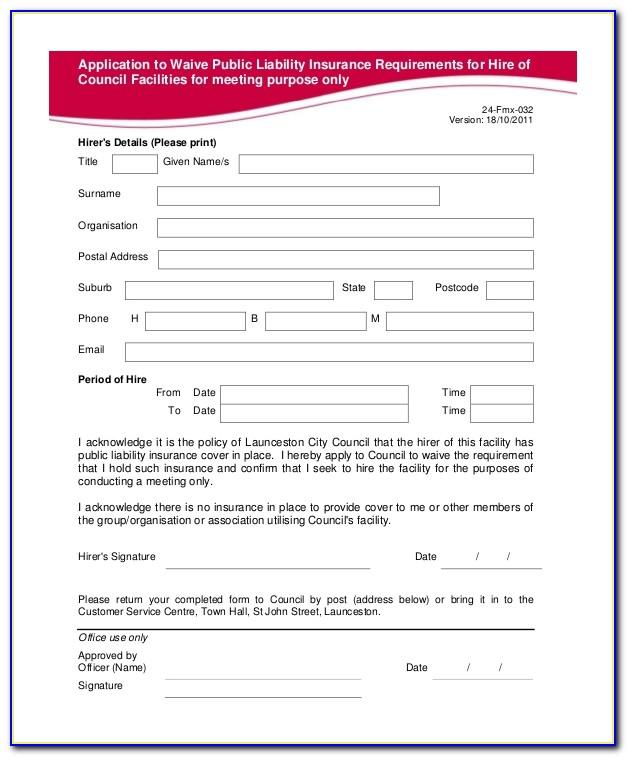 General Waiver Of Liability Form Template