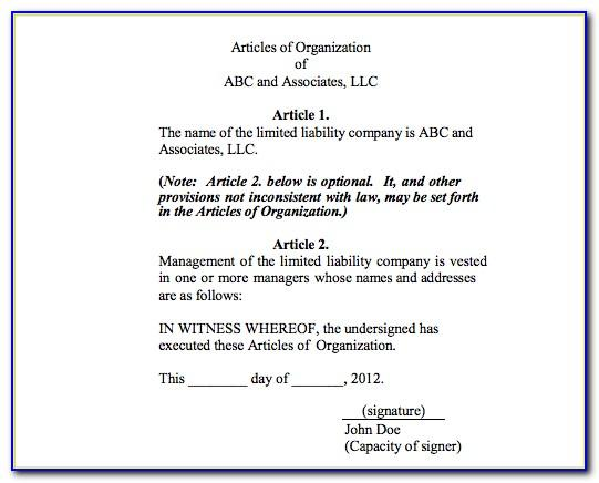 Georgia Llc Articles Of Organization Form