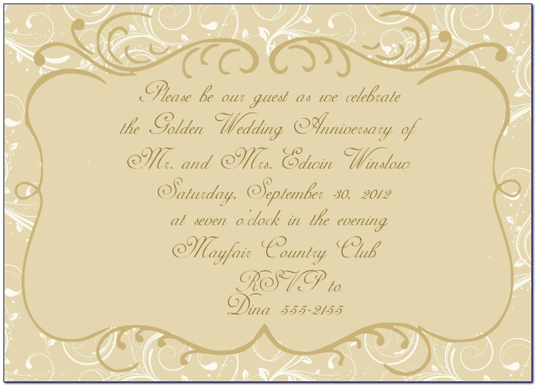 Golden Anniversary Invitations Templates