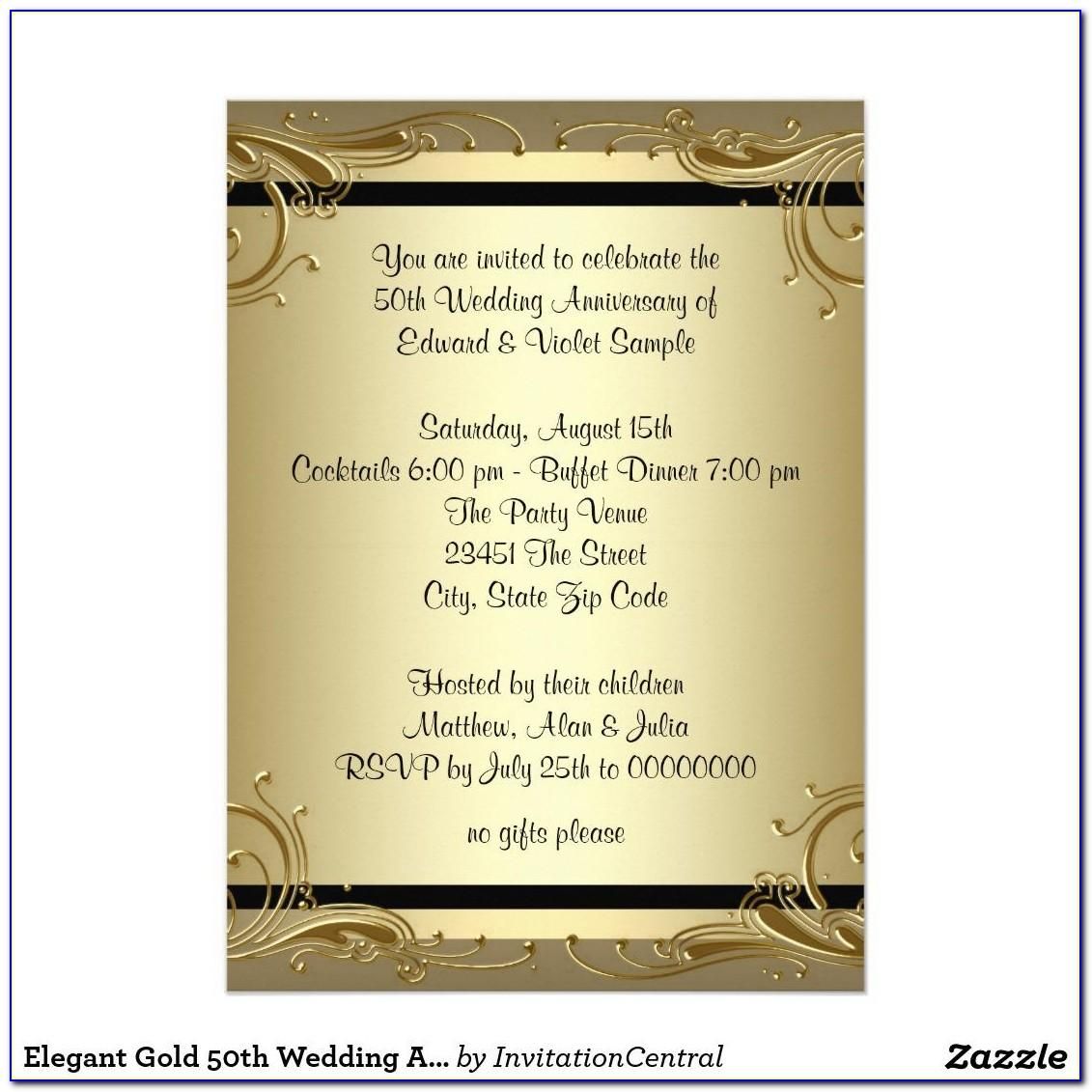 Golden Wedding Invitation Format