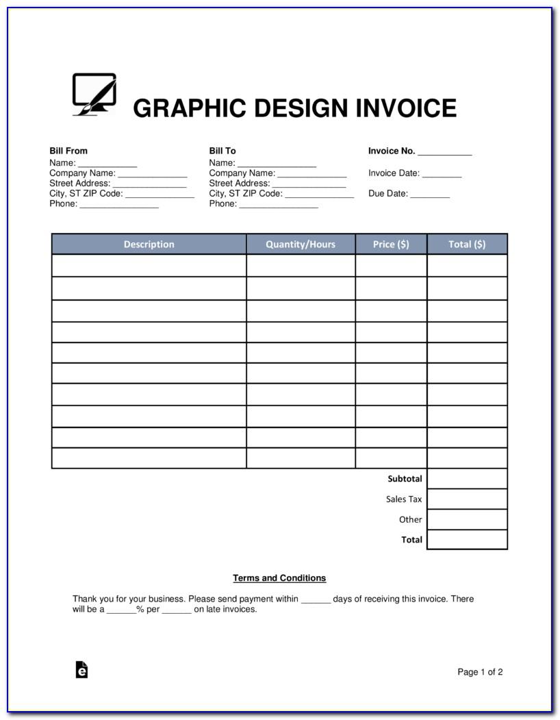 Graphic Design Invoice Template Free Download