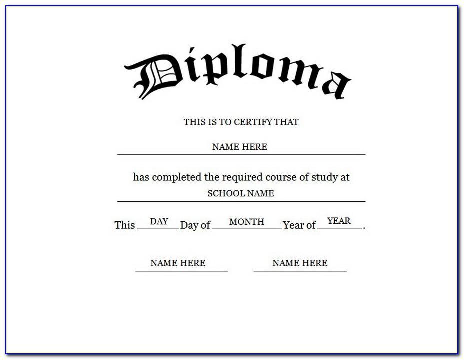 High School Diploma Template Microsoft Word