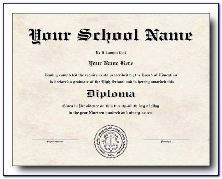 High School Diploma Template Word Free