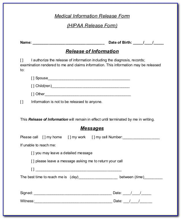 Hipaa Compliant Release Of Information Template