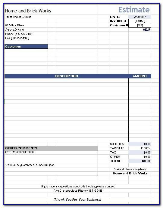 Home Repair Cost Estimate Template