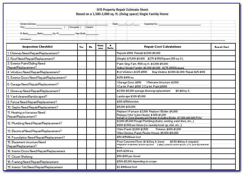 Home Repair Estimate Form Excel