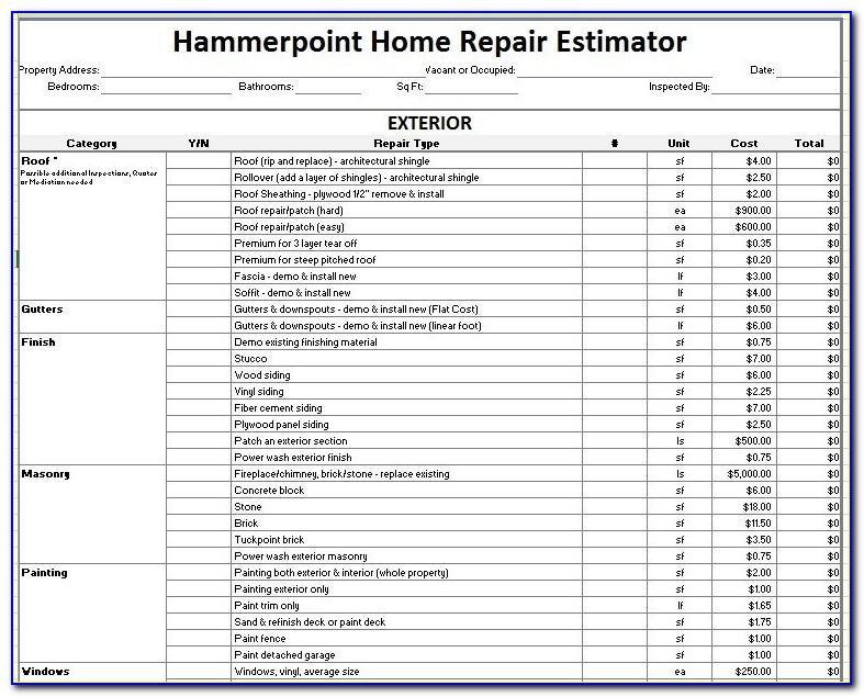 Home Repair Estimate Template Excel