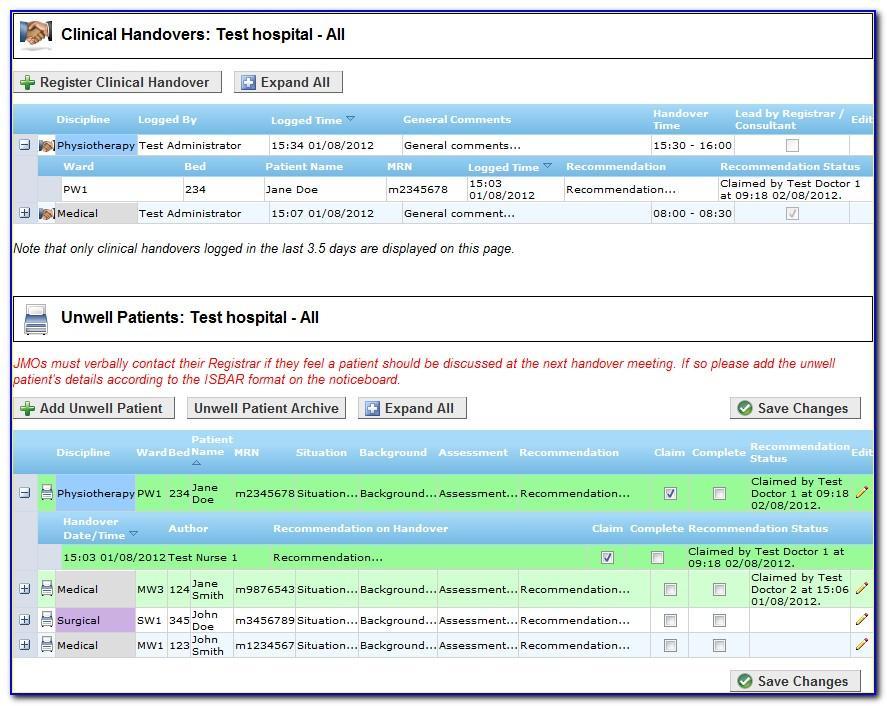 Hospital Handover Template