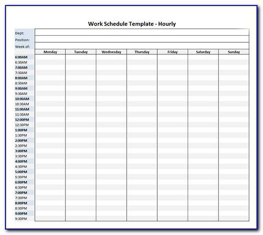 Hourly Work Schedule Template Excel