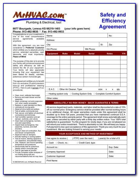 Hvac Service Maintenance Agreement Forms