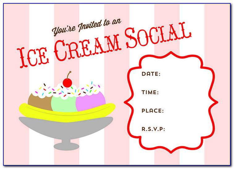 Ice Cream Social Invitation Template Free