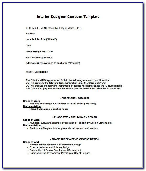 Interior Decorating Contract Example