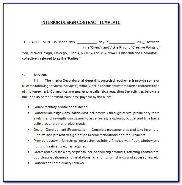 Interior Decorating Contract Template