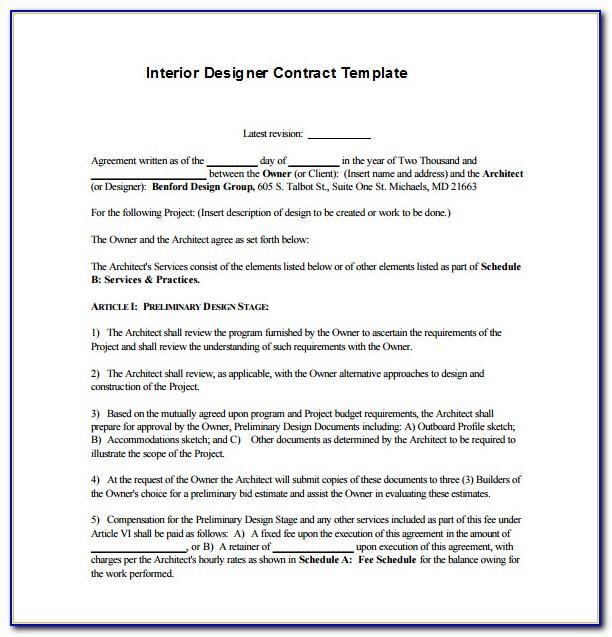 Interior Decorator Contract Form