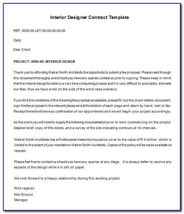 Interior Design Contract Template Free Download