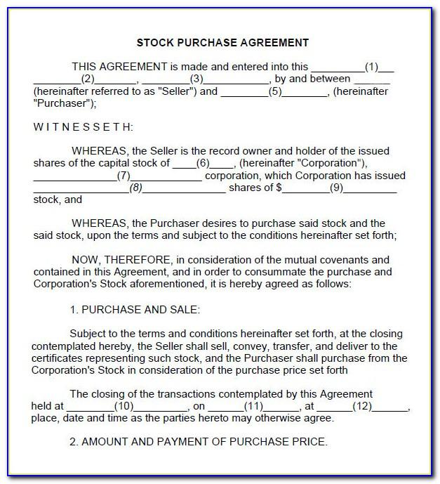Inventory Stocking Agreement Template