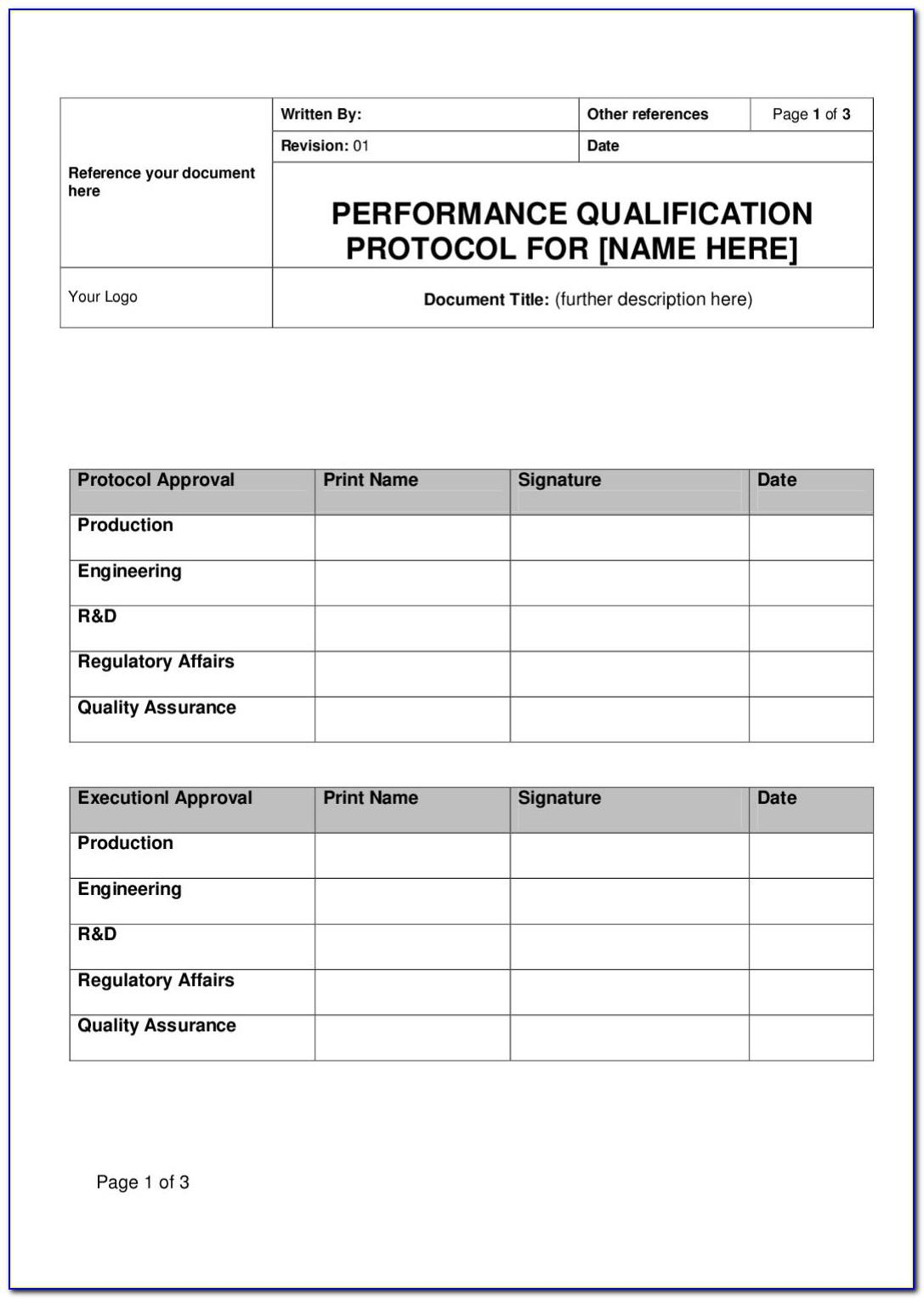 Iq Oq Pq Validation Plan