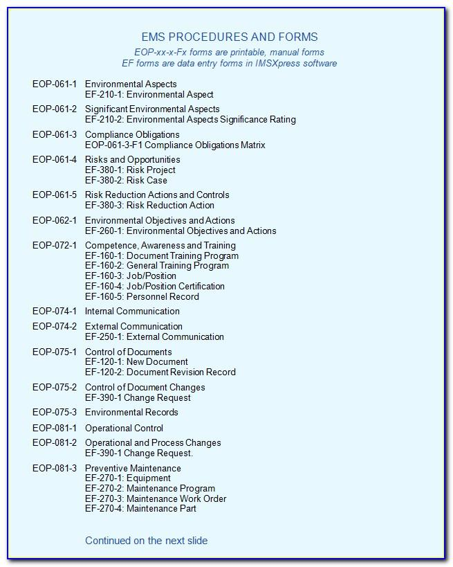Iso 14001 2015 Template Free Download