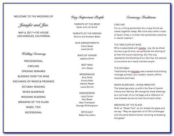Jewish Wedding Program Samples